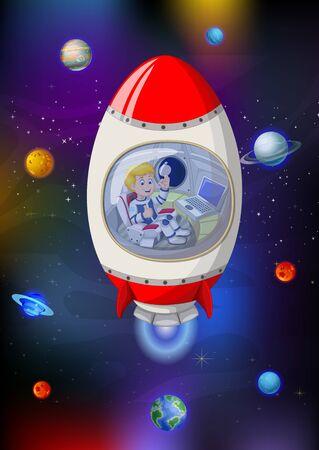 Fusée blanche rouge fraîche dans l'espace de galaxie avec la bande dessinée de planètes Vecteurs