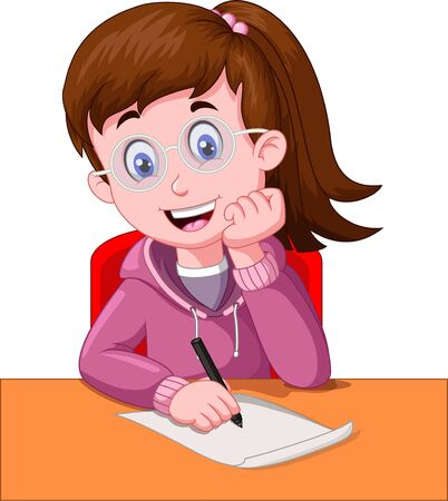 Cute Girl With Eyeglasses Writing In A Paper With A Black Pen Cartoon