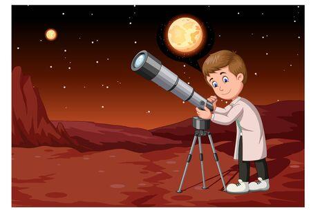 Handsome Scientist With Telescope in Mars Suface Cartoon Ilustración de vector