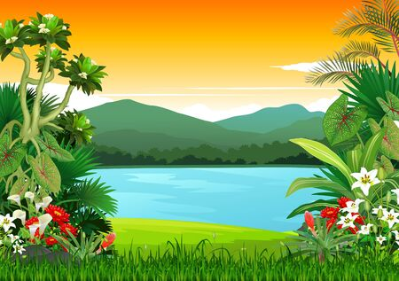 Beautiful Sunset in Tropical Lake Landscape View With Ivy Plants Cartoon for your design