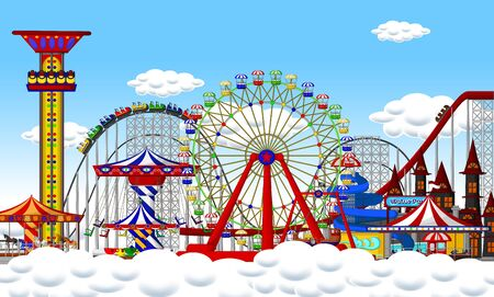 Funny Playground On Top of Cloud With Ferris Wheel, Roller Coaster, and Carousel Cartoon Ilustracja