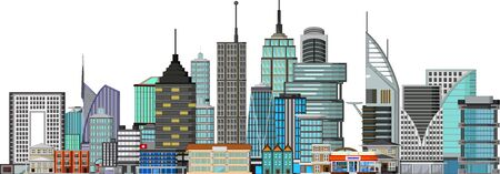 Beautiful Landscape Town With Tall Buildings Cartoon Vector Illustration