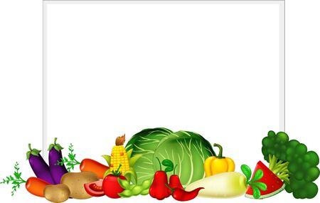 Fresh Fruit Vegetable Collection Group Cartoon Set Vector Illustration Isolated Ilustracja