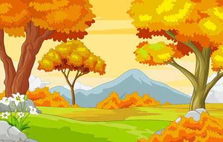 Landscape Forest View With Grass Field, Trees, and Mountain in Background Cartoon Vector Illustration