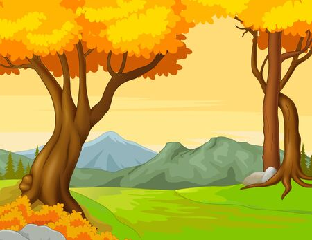 Landscape Forest Autumn View With Trees and Mountain Range Cartoon Vector Illustration Isolated