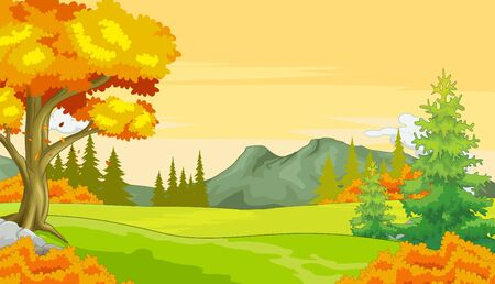 Autumn Landscape Forest View With Grass Field, Trees, and Mountain Range Cartoon Vector Illustration