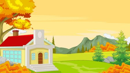 Singe House in Grass Field Autumn Forest With Trees and Mountain Cartoon Vector Illustration