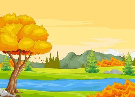 Landscape  Forest View With River, Trees, and Mountain Cartoon Vector Illustration Isolated