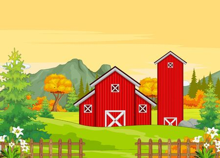Red Building Farm in Grass Field With Trees and Mountain Range in Background Cartoon Vector Illsurtation