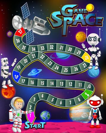 Game Space Snake and Ladder With Robots and Astronaut in Outer Space Cartoon Vector Illustration Isolated