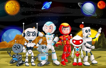 Robotics Cyborg Collection Group Cartoon Set on Mars Surface With Other Planets in Background Cartoon Ilustracja