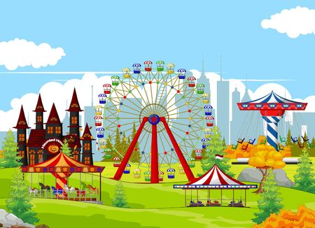 Landscape Playground Collection Cartoon Set With Ferris Wheel, Carousel, and Castle in Grass Field Cartoon