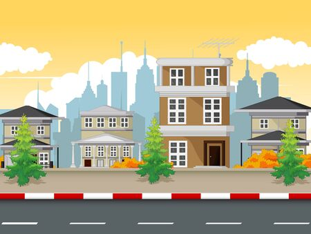 City Town Situation Landscape View With Road Cartoon Vector Illustration Isolated Ilustracja