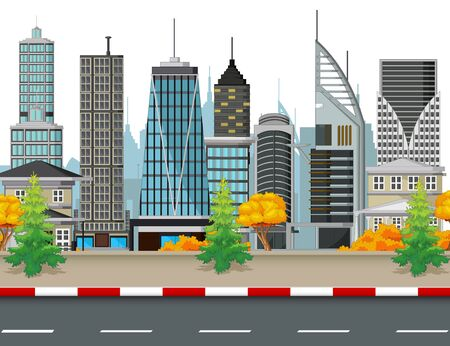Cityscape Town With Buildings Tower and Road Cartoon Vector Illustration