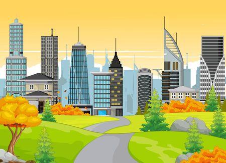 Cityscape Town Near Grass Field With Trees Cartoon Vector Illustration