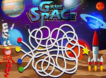 Finding Way Street Game Space in Outer Space With Planets and Robots Cartoon Vector Illustration Ilustracja