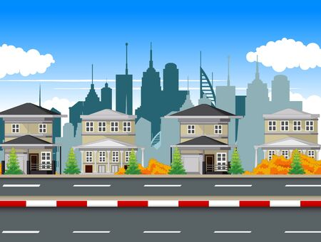 Cityscape Town With Building Tower Apartement and Road Cartoon Vector Illustration Ilustracja