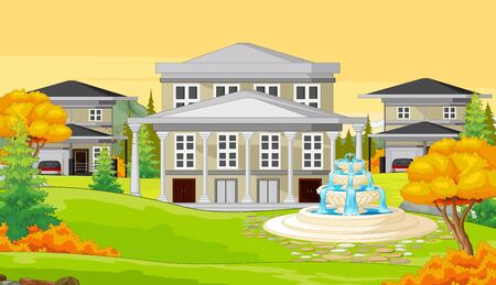 Three Houses With Trees and Water Fountain in Autumn Cartoon Vector Illustration Ilustracja