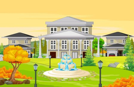 Cool Houses in Grass Field With Water Fountain and Trees Autumn Cartoon Vector Illustration