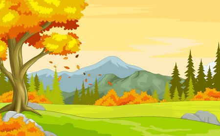 Vector Autumn Landscape Forest View With Mountain, Trees, and Grass Field Hill Cartoon Vector Illustration