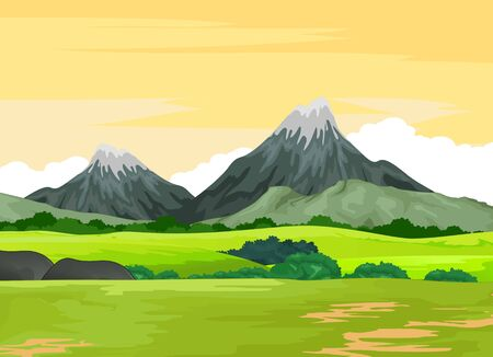 Landscape Grass Field View With Mountain Cartoon Vector Illustration Isolated