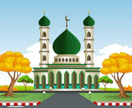 Islamic Mosque Cartoon Vector Illustration Isolated Ilustracja