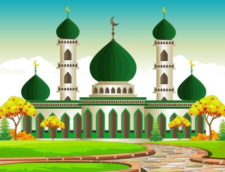 Beautiful Islamic Mosque Cartoon Isolated Ilustracja