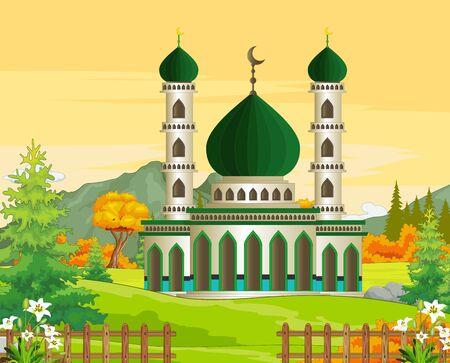 Islamic Mosque Cartoon Isolated