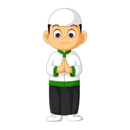 Muslim Boy in White Shirt Cartoon