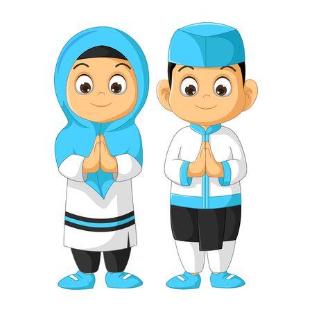 Muslim Kids Couple Cartoon Isolated Ilustracja