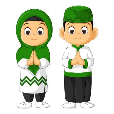 Muslim Kids Couple Cartoon Vector Illustration