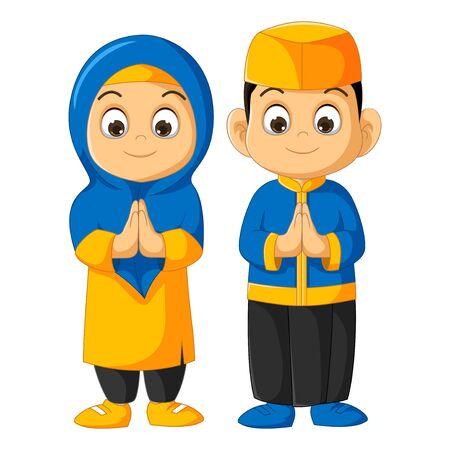 Muslim Couple Boy and Girl Cartoon