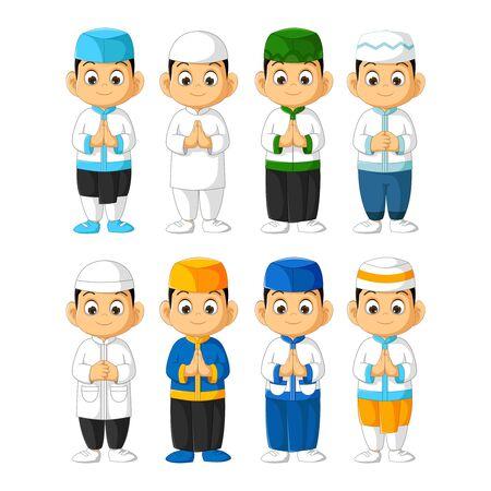 Muslim Boy Man Cartoon Set Isolated