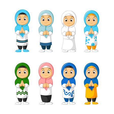 Muslim Beautiful Girl Cartoon Set