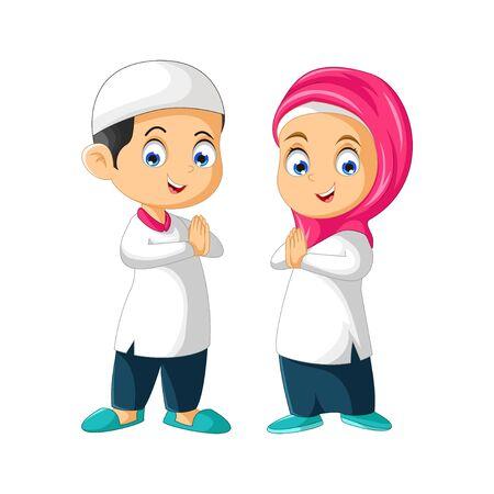 Muslim Couple Kids Cartoon Isolated