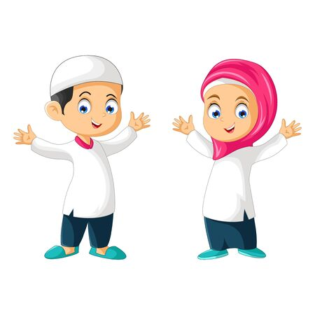 Muslim Kids Cartoon Vector Ilustracja