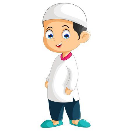 Muslim Boy Cartoon Isolated