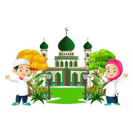 Islamic Mosque With Kids Cartoon Ilustracja