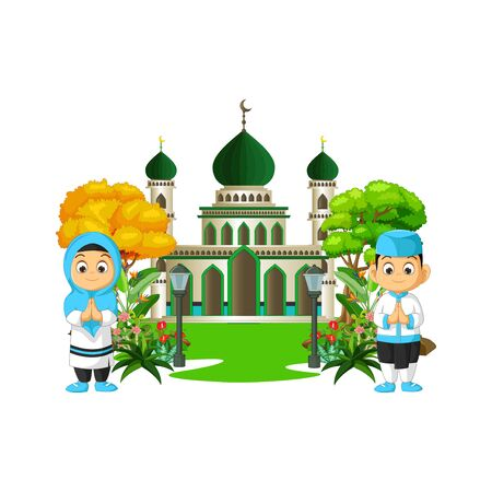 Islamic Mosque With Two Kids Cartoon