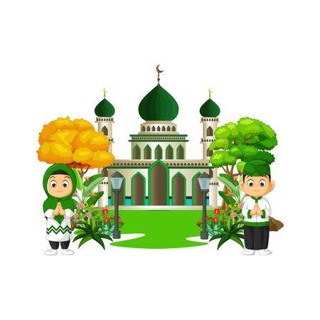 Mosque With Kids Cartoon