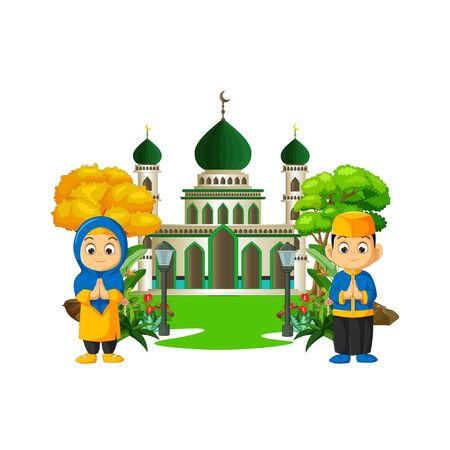 Islamic Mosque With Kids Cartoon Isolated