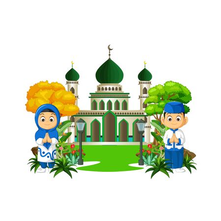 Mosque With Kids Cartoon Isolated