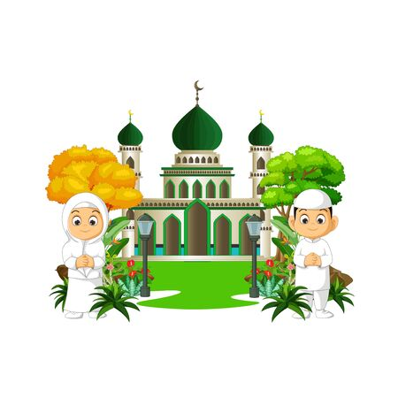 Mosque Cartoon With Two Kids