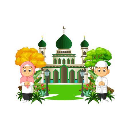 Mosque Cartoon With Kids Ilustracja