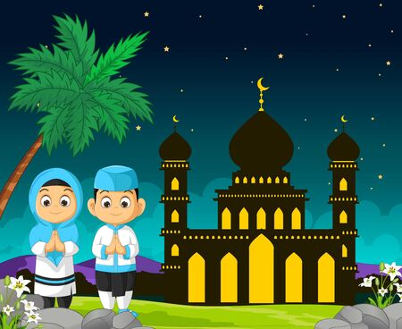 Mosque Cartoon in Night View With Kids Ilustracja