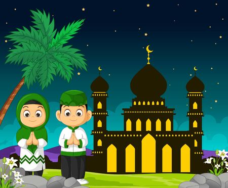 Mosque in Night Cartoon With Two Kids