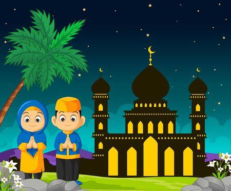 Islamic Mosque Cartoon in Mubarak Night With Two Kids