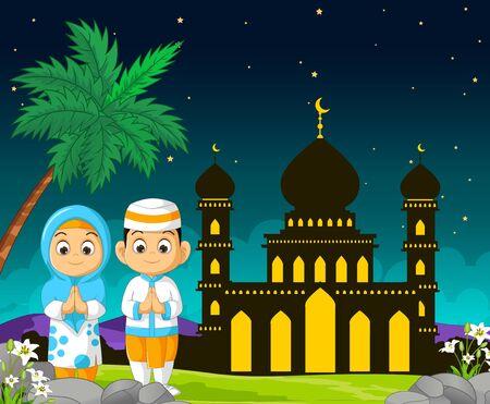 Islamic Mosque Cartoon in Mubarak Night With Couple Kids