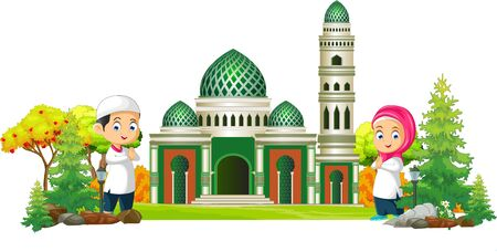 Islamic Mosque Cartoon With Two Kids