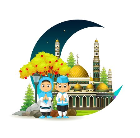 Mosque With Kids and Crescent Moon